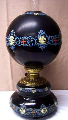 Rare Weller Tundra kerosene oil lamp with matching hand painted globe Fostoria Antique Oil Lamps, Vintage Lamps, Globe Lamps, Globe Lights, Painted Globe, Hand Painted, Victorian Lighting, Weller Pottery, Globes