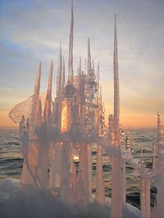 """""""Misty Ice Castle"""" ice sculpture and photograph by Sally J. Smith"""