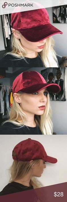 RESTOCK • maroon velvet baseball cap • the perfect cap to throw on and go with anything! made of an extremely soft velvety material. sooo comfy.   * beautiful, rich maroon color  * velvet-like material * looks expensive  good quality!  * brand is David & Young  ❣ ABSOLUTELY NO PP OR TRADES ❣ Nasty Gal Accessories Hats