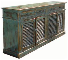 Vintage Country Blue Lacquer Console Buffet Table - traditional - buffets and sideboards - san francisco - by Golden Lotus Inc