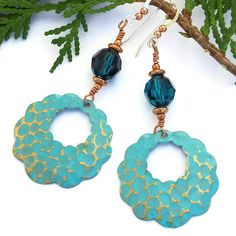 The TANTALIZING TURQUOISE handmade earrings are lovely, eye catching dangles - and are aptly named because of their turquoise / capri blue color so reminiscent of the tantalizing tropical turquoiuse waters of the Caribbean. Created with artisan hand painted scalloped brass hoops, dark capri blue faceted Czech crystal beads, copper and sterling silver ~~~ Designed and #Handmade by Catherine Waterhouse of @shadowdog -
