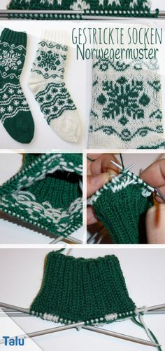 Knitted Socks: Knit Norwegian Patterns Free knitting instructions - Knitting for Beginners How To Start Knitting, Easy Knitting, Knitting For Beginners, Knitting Socks, Knitting Needles, Crochet Bikini, Knit Crochet, Stitch Patterns, Knitting Patterns