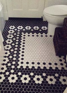 The Willows Home & Garden: happy. Vintage Bathroom Floor, Small Bathroom, Bathroom Ideas, Black And White Bathroom Floor, Black White Bathrooms, Bathroom Flooring Options, Old Window Projects, Tile Layout, Home Reno