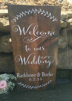 Welcome to our wedding sign names and date by NeseDecor on Etsy