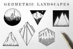 Ad: Geometric Landscape Illustrations by Build Interactive on Geometric Landscape Illustrations includes 6 nature design elements with a unique ink illustration style. They're perfect for posters, Business Illustration, Pencil Illustration, Graphic Illustration, Landscape Drawings, Landscape Paintings, Landscapes, Hiking Tattoo, Nature Tattoos, Ink Illustrations
