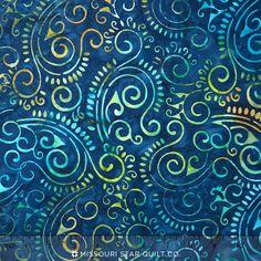 In the Limelight Batiks - Scroll Navy Yardage Cushion Fabric, Navy, Cotton, Hale Navy, Navy Blue
