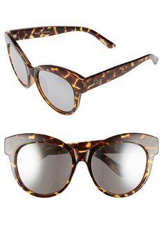'Maiden' 55mm Cat Eye Sunglasses - Tort/ Silver Mirror