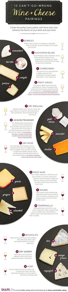 13. Wine and #Cheese - 34 Food Infographics to Make You a #Better Technical Cook ... → Food #Sheet
