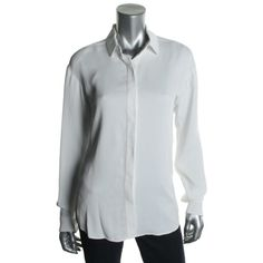Anthony Vaccarello Womens Twill Solid Button-Down Top