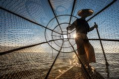 Big Net Silhouette, Inle Lake by ZaNetti .S