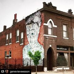#Repost @genevieveesson  I was driving through the Grove on the way back from the printers the other day & snapped this cool mural. The tree looks like a heart. #art #murals #muralsdaily #thegrove #thegrovestl #grove #face #trees #treeart #hearts #heart #heartshaped #manchester #buildings #architecture #artistsofinstagram #genevieveesson #artist #stlouismo #stl #saintlouis #stlouis #street #streetart #driveby #instaart #instagram #artistic_unity @thegrovestl