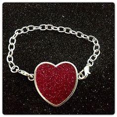My daughter would love this. Handmade Pink Glitter Heart Resin Charm Pendant Bracelet | eBay