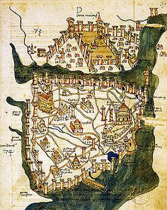 Medieval map of Constantinople.