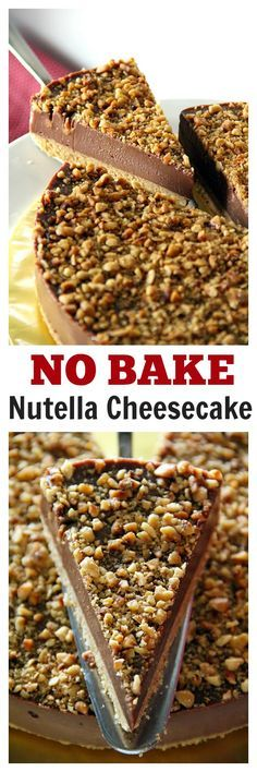 Best-ever NO BAKE Nutella Cheesecake with toasted hazelnut, to-die-for richest and creamiest cheesecake ever
