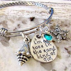 Buy Beach Bangle Bracelet, Hand Stamped, Toes in the Sand - Starfish, Shell, Cruise Jewelry by Lily Brooke Vintage on OpenSky