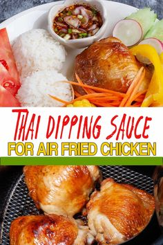 Air fried chicken with this easy Thai dipping sauce will upgrade your succulent chicken to Awesome. It's quick, tasty and the dip compliments chicken perfectly. Thai Dipping Sauce, Hoisin Sauce, Sauce Recipes, Dip Recipes, Yummy Recipes, Tasty Thai, Spicy Chicken Recipes, Jasmine Rice, Everyday Food