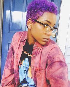 Hey boo @chelbrea  #curls #purplehair #style #naturalhair #bigchop #beauty #thecutlife