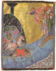 Red sea passage. Toros Roslin, (circa 1210–1270) was the most prominent Armenian manuscript illuminator in the High Middle Ages. Roslin introduced a wider range of narrative in his iconography based on his knowledge of western European art while continuing the conventions established by his predecessors.(rw)