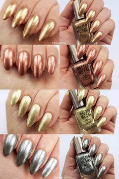 Barry M Molten Metals range - nail swatches #metallic #metallicnails #barrym…