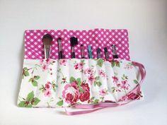shabby chic Cath Kidston makeup brush roll rose by clarashandmade,