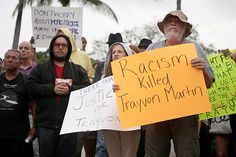 Demonstrators react to George Zimmerman's acquittal, Miami Florida... His death wasn't about race, guns, or your pet issue. It was about misjudgment and overreaction—exactly what we're doing now to the verdict...