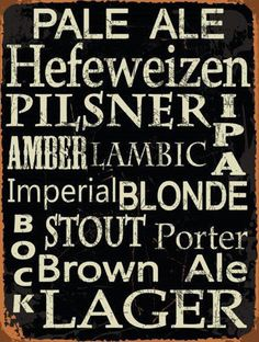 Beer Types Around the World Metal Sign,  Rustic Casual Den, Bar, Gameroom Decor #OMSC #Country
