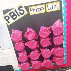 Our PBIS Prize Wall is open for business! Once students earn 20 tickets, they get to punch through and pick a prize. The prizes are all coupons from . Classroom Data Wall, Classroom Prizes, Classroom Behavior, Classroom Management, Behavior Management, Classroom Ideas, Pbis School, School Social Work, School Counseling