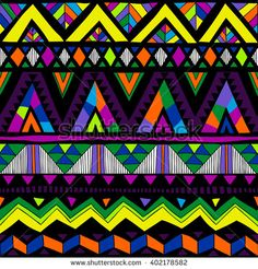 neon color tribal Navajo vector seamless pattern with doodle elements. aztec abstract geometric art print. ethnic hipster backdrop. Wallpaper, cloth design, fabric, paper, cover, textile. Hand drawn - stock vector