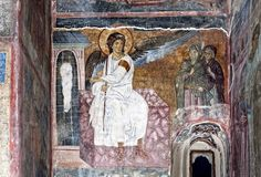 """Myrrhbearers at the Tomb (""""The White Angel'' of Mileševa Monastery) Whispers of an Immortalist: Icons of Resurrection and Ascension 1"""