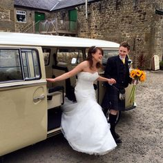 Congratulations to Stuart and Rachael married at High House Farm Brewery, Matfen www.vwdeluxeweddings.co.uk Chauffeur driven VW Campervan wedding hire in Northumberland, Tyne and Wear and Durham