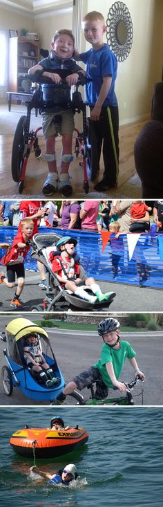 Noah, 8, Completa Um Mini-Triathlon Com Seu Irmão Lucas