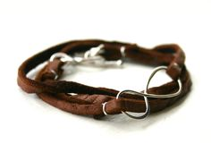 Infinity leather wrap bracelet with toggle clasp by JustJaynes, $24.00