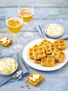 Mini gaufres au cidre, gingembre, coriandre et dip de cottage cheese au citron confit