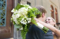 White & green bridal bouquet by Floressence.  Alyssa Rose Photography