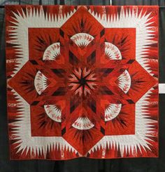 Prairie Star quilt by R. David Fritsch, quilted by Holly Schlosser.  Pattern by Judy Niemeyer.  Photo by Cathy Geier's Quilty Art Blog: Shipshewana Quilt Festival 2015