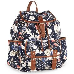 Aeropostale Womens Polka Dot Floral Everyday Backpack ($43) ❤ liked on Polyvore featuring bags, backpacks, dot bag, backpacks bags, floral print backpack, aéropostale and aeropostale backpacks