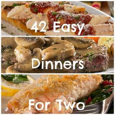 42 Easy Dinner Recipes for Two: Cooking for two? Then try one of these easy dinner recipes and make the perfect amount. No more wasted food!