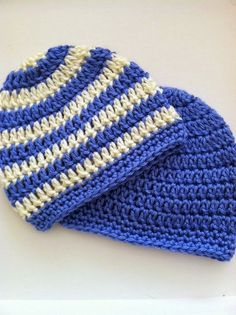"This pattern is written for a ""solid"" and a ""striped"" version.  So cute for your little one!              ""Preppy"" Crochet Baby Beanies in S..."