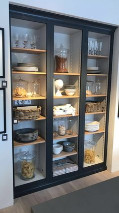 modern farmhouse kitchen with glass pantry doors, custom built-in with glass doo. - modern farmhouse kitchen with glass pantry doors, custom built-in with glass doors and black cabinets in kitchen, open shelf decor ideas in neutral kitchen design Kitchen Items, Home Decor Kitchen, New Kitchen, Kitchen Pantry, Kitchen Hacks, Dirty Kitchen Ideas, Open Cabinets In Kitchen, Gold Kitchen, Cheap Kitchen