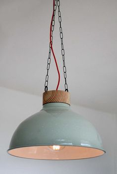 WOOD LAMP - Hanging Lamp with original green industrial Phillips shade, custom designed hand made top, pendant light