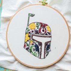 Bobba Fett hand embroidery, Star Wars fan art, Sugar Skull style #Mexican