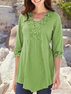 Round Neck Asymmetric Hem Decorative Lace Patchwork Plain Short Sleeve t shirt outfit t shirts outfit summer t shirts outfit casual t shirts outfit dressy t shirts outfit jeans and Half Sleeve Women, Half Sleeves, Harlem Nights Outfits, Blouse Styles, Short Sleeve Blouse, Long Sleeve, Blouses For Women, Ladies Blouses, Women Tunic