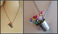 Thimble flower pot necklace, hanging to the side