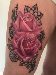 Rose tattoos are intended for both women and men. It can be done with watercolor tattoos. Many times, a tattoo with a rose is known as a sign of unattainable beauty. A rose tattoo is among the most prevalent patterns… Continue Reading → Rose Tattoos For Women, Sleeve Tattoos For Women, Tattoo Designs For Women, Tattoos For Guys, Rose Tattoo Thigh, Lace Tattoo, Intricate Tattoo, Tattoo Feminina, Inspiration Tattoos