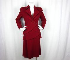 Vintage 1940s Cranberry Wool Suit, Sz S. $350.00, via Etsy.