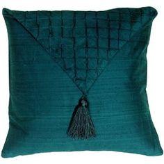 teal silk pillow