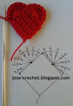 best ideas for crochet heart free pattern appliques tutorials Crochet Diy, Mandala Au Crochet, Crochet Circles, Crochet Motifs, Crochet Diagram, Crochet Chart, Crochet Squares, Love Crochet, Crochet Gifts