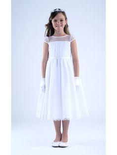 Cap Sleeves Illusion Neckline Lace Chiffon Flower Girl Dresses 402046
