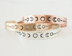 Moon phase bracelet copper brass or sterling silver by ZennedOut