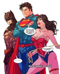 Aren't you guys forgetting someone? Batman/Superman/Wonder Woman © DC Comics Artwork © Trinity You Cannot Hurt Us! Hq Marvel, Marvel Dc Comics, Batman Superman Wonder Woman, Dc Trinity, Univers Dc, Dc Memes, Dc Comics Characters, Dc Comics Art, Comics Universe